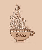 Cup of coffee. Decorative vector hand drawn background with cup of coffee Royalty Free Stock Image