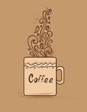 Cup of coffee. Decorative vector hand drawn background with cup of coffee Stock Image
