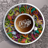 Cup of coffee Design doodles on a saucer, paper and background Stock Photos