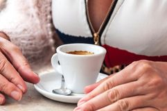 Cup of coffee on the desk of restaurant Royalty Free Stock Photo