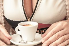 Cup of coffee on the desk of restaurant Stock Photo