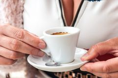 Cup of coffee on the desk of restaurant Stock Images