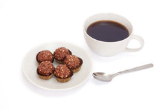 Cup of coffee and dessert. Stock Photos