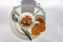 Cup of coffee with dessert Royalty Free Stock Image