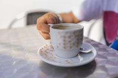 Cup of coffee. Detail to a cup of coffee royalty free stock photo