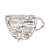 Cup of coffee with different fonts Royalty Free Stock Photo