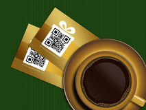 Cup of coffee with discount coupons on tablecloth Royalty Free Stock Photography