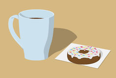 Cup of coffee and donut Royalty Free Stock Photography