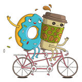 Cup of coffee and a donut on a pink bike ride. Cute and funny cup of coffee and a donut on a pink bike ride. Vector illustration on white background royalty free illustration