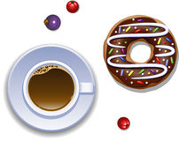 Cup of coffee and a donut Royalty Free Stock Image