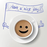Cup of coffee and doodle image with Have A Nice Day massage. Sto Stock Photos