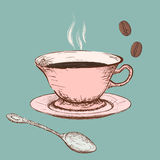 Cup of coffee. Doodle image. Cup of coffee in style Doodle image. Stock  illustration Stock Photo