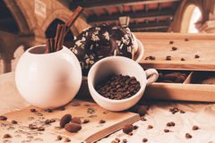 Cup of coffee and douhnut at summer travelling Royalty Free Stock Photography