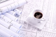 Cup of coffee and drawing Royalty Free Stock Images