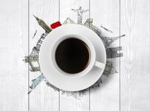 Cup of coffee. With drawing travel Royalty Free Stock Images