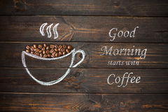 Cup of coffee drawn with chalk on the old vintage wooden board. Stock Images