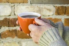 Elderly woman holding a mug of tea royalty free stock images