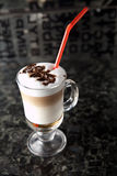 Cup of coffee drink cocktail. Coffee drink cocktail with cream and chocolate Royalty Free Stock Photos