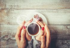 A cup of coffee. Drink. Selective focus stock photo