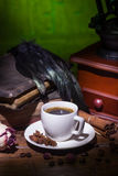 Cup of coffee, dry rose and grinder Royalty Free Stock Photos