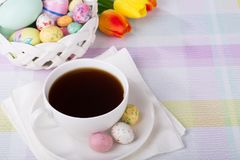 Cup of Coffee and Easter Treats Royalty Free Stock Image