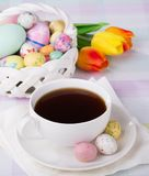 Cup of Coffee and Easter Treats Royalty Free Stock Images