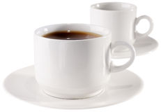 Cup of coffee and empty cup Royalty Free Stock Image