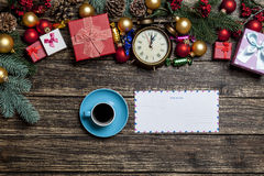 Cup of coffee and envelope Royalty Free Stock Photography