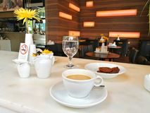 Espresso americano at Mikel Coffee Shop Royalty Free Stock Photography
