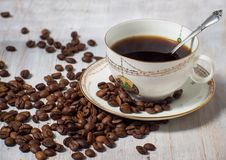 Cup of coffee espresso. Break time Stock Photos
