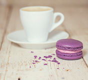 A cup of coffee espresso. And  macaroon Royalty Free Stock Photography
