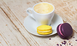 A cup of coffee espresso, macaroon. A cup of coffee espresso and  macaroon Stock Photography