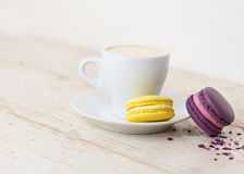 A cup of coffee espresso. And  macaroon Stock Photos