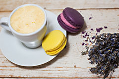 A cup of coffee espresso and macaroon. A cup of coffee espresso, macaroon and lavender Stock Photography