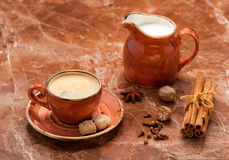Cup coffee espresso, milk and spices. Royalty Free Stock Image