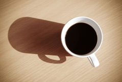 Cup of coffee, Espresso on wooden table,top view Royalty Free Stock Photo