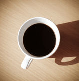 Cup of coffee, Espresso on wooden table,top view Royalty Free Stock Photos