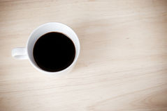 Cup of coffee, Espresso on wooden table,top view Royalty Free Stock Photography