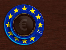 Cup of coffee with european union flag and euro currency Stock Photos