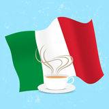 Cup of coffee and flag Italy Stock Photos