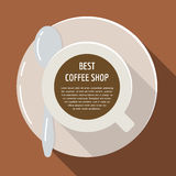 Cup of coffee flat illustration. Espresso drink top view concept for cafe menu Royalty Free Stock Photo