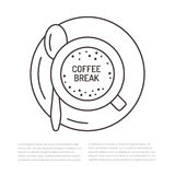 Cup of coffee flat line illustration. Espresso drink top view concept for cafe menu Stock Photo