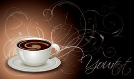 Cup of coffee with floral background Royalty Free Stock Images