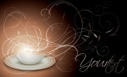 Cup of coffee with floral background Royalty Free Stock Photo