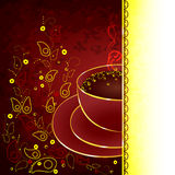 Cup of coffee with floral design elements. Vector illustration Vector Illustration