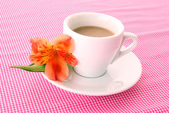 Cup of coffee and flower Stock Images