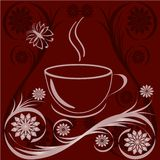 cup of coffee with flower ornaments Royalty Free Stock Images