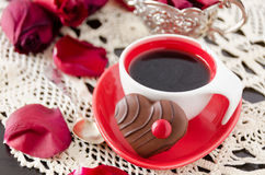 Cup of coffee with flowers Stock Images