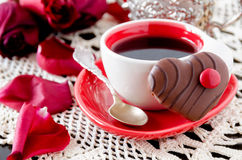Cup of coffee with flowers Royalty Free Stock Photography