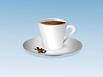 Cup of coffee with foam on a saucer Royalty Free Stock Images